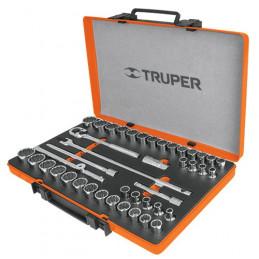 """Juego de 42 piezas Mixto, encastre 1/2"""", en acero al cromo vanadio, JD-1/2X42MP 13940 Truper"""