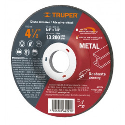 """Disco Abrasivo Desbaste de Metal UG 4 1/2"""" Tipo 27, 6.4mm, RPM 13200 Centro 7/8"""", Oxido de Aluminio, ABT-774 12565 Truper"""