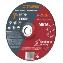"""Disco Abrasivo Desbaste de Metal UG 7"""" Tipo 27, 6.4mm, RPM 8600 Centro 7/8"""", Oxido de Aluminio, ABT-999 12567 Truper"""