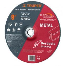 """Disco Abrasivo Desbaste de Metal UG 9"""" Tipo 27, 6.4mm, RPM 6700 Centro 7/8"""", Oxido de Aluminio, ABT-779 10667 Truper"""