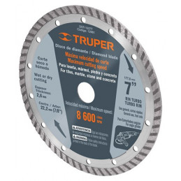 "Disco Diamantado Turbo Uso General 4"" Centro 7/8"", 2mm, Abrasivo 8mm, DDT-861T 12979 Truper"