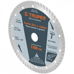 "Disco Diamantado Turbo Uso General 7"" Centro 7/8"", 2.6mm, Abrasivo 7.7mm, DDT-1527T 12981 Truper"