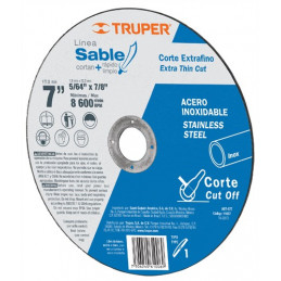 """Disco Abrasivo Corte Extrafino Acero Inoxidable AR 7"""" Tipo 1 Centro 7/8"""" 1.8mm RPM8600 Oxido AL, ABT-877 11637 Sable Truper"""