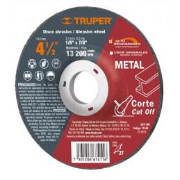 "Disco Abrasivo Corte Metal AR 4 1/2"" Tipo 27 Centro 7/8"" 3.2mm RPM13200, Oxido de Alumino, ABT-390 11549 Truper"