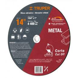"Disco Abrasivo Corte Metal AR 14"" Tipo 1 Centro 1"" 3.2mm RPM4400 Chop Saw, Oxido de Alumino, ABT-742 11567 Truper"