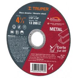 "Disco Abrasivo Corte Metal UG 4 1/2"" Tipo 1 Centro 7/8"" 2mm RPM13200, Oxido de Alumino, ABT-786 10664 Truper"
