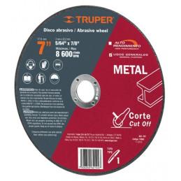 "Disco Abrasivo Corte Metal UG 7"" Tipo 1 Centro 7/8"" 2mm RPM8600, Oxido de Alumino, ABT-787 10665 Truper"