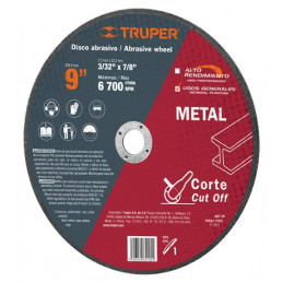 "Disco Abrasivo Corte Metal UG 9"" Tipo 1 Centro 7/8"" 2.3mm RPM6700, Oxido de Alumino, ABT-791 12572 Truper"
