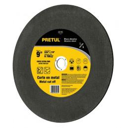 "Disco Abrasivo Corte Extrafino Metal UG 9"" Tipo 1 Centro 7/8"" 2mm RPM6700, Oxido de Alumino, DICOF-9020P 22347 Pretul"
