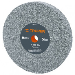 "Piedra para Esmeril 5"" Espesor 3/4"" Barreno 1/2"" Grano 36, Oxido de Aluminio, PIES-53436 16358 Truper"