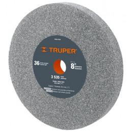 """Piedra para Esmeril 8"""" Espesor 1"""" Barreno 1"""" Grano 36, Incluye Adaptador, Oxido de Aluminio, PIES-8136 16411 Truper"""