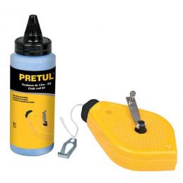 Tiralinea Plastico 15m, con repuesto, bobinado rapido, Incluye Bote de Gis, TL-50P 28574 Pretul