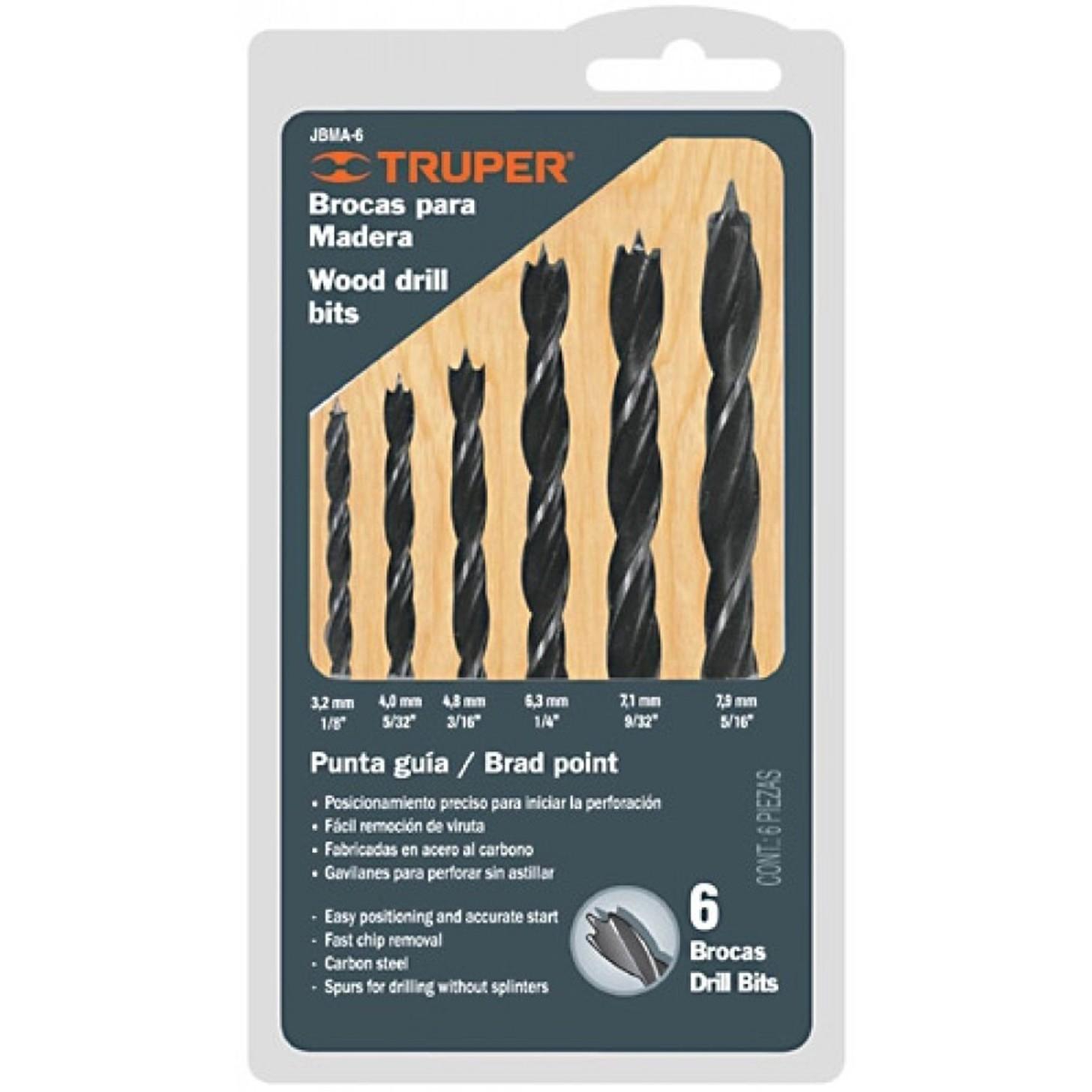 di/ámetro de 12-25 mm Juego de brocas de pala KATUR de 6 piezas broca de madera plana de acero al carbono juego de brocas de paleta de tres puntos gris para carpinter/ía