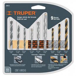 Juego de 9 Brocas para metal de Alta Velocidad Turbo Steel y Madera, JBMX-9 11339 Truper