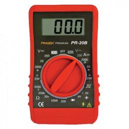 Multitester Digital Prasek Premium PR-20B, DC300V AC200V Mide voltaje Amperaje ohmímetro diodos y continuidad