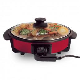 Sarten Electrica Multicook, Para freir asar y cocinar Interior antiadherente control de temperatura, Rojo, REC-CLSENER101 RECORD