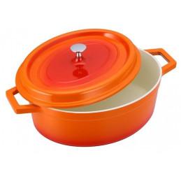 Olla Gourmet Ovalada 6.4 Litros 24cm, en aluminio con cubierta antiadherente de ceramica, color Naranja, 1115460255 RECORD