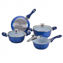 Juego SET de Ollas Ceramica Line Blue 7 Piezas, cubierta antiadherente de ceramica con tapa de vidrio, 1125275800 RECORD