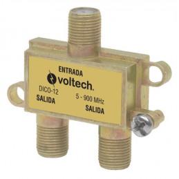 Splitter de 2 Salidas RG6, Fabricado en Zamac con acabado anticorrosivo, Frecuencia 5-900Mhz 75Ohms, DICO-12 48475 Voltech