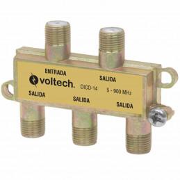 Splitter de 4 Salidas RG6, Fabricado en Zamac con acabado anticorrosivo, Frecuencia 5-900Mhz 75Ohms, DICO-14 48477 Voltech