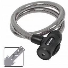 Cable de Seguridad con llave 15mm 1.20m, en acero con cubierta PVC, Incluyen 2 llaves tipo automotriz, CB-15 43920 Hermex