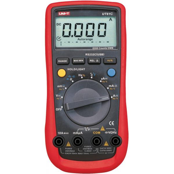 Multimetro Digital UNI-T UT-61C, AC750V DC1000V Voltaje Resistencia Capacitancia Temp Diodo Transistor Continuidad