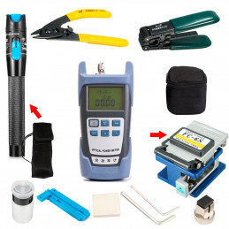 Kit de Herramientas para Empalme de Fibra Optica 1401 Incluye Power Meter Visual Fault Locator Fiber cleaver
