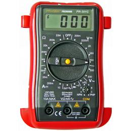 Multitester Digital Prasek PR-301C, DC500V AC500V Mide voltaje Amperaje ohmímetro diodos y continuidad
