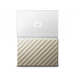 Disco duro externo Western Digital 1TB My Passport Ultra WDBTLG0010BGD-WESN, USB 3.0, Blanco Dorado