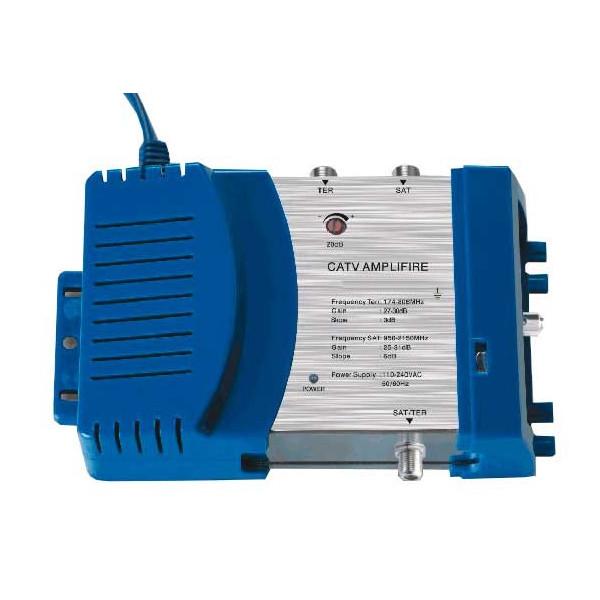 Amplificador de Interior para Señal Satelital DTH 201G, CATV Cable y DTH SATV, 30dB Regulador de Ganacia Conecto RG6 F