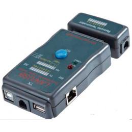 Cable Tester Testeador RJ45 USB Modular 251454CT, RJ45 RJ12 USB-A USB-B BNC, Diseño compacto Facil Uso