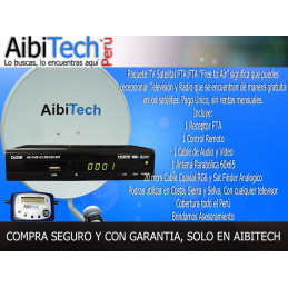 Pack Kit Television Satelital FTA Incluye Antena 65CM + Sat Finder Digital, Para LIMA Y PROVINCIA