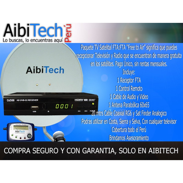 Pack Kit Television Satelital FTA Para LIMA Y PROVINCIA