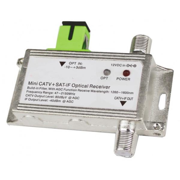 Receptor óptico Mini FTTH 2020A, CATV SATV 1100-1600nm 47-2150MHz Conector RG6 F SC/APC