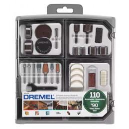 Kit de accesorios Dremel 709, 110 Piezas con organizador accesorios mas comunes