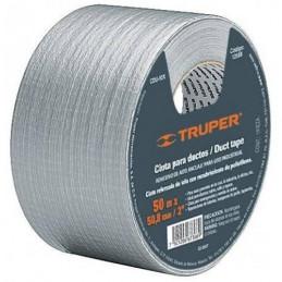 Cinta Ducte Tape 50m Ancho 48mm Espesor 0.19mm, Elongacion 10%, Resistente a Temperaturas, CDU-50X 12588 Truper
