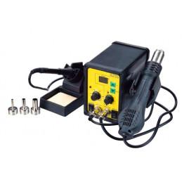Estacion de Calor y Soldadura ESD 968, Control de Temperatura con Pantalla LED Cautin y Pistola Calor