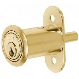Cerradura para mueble dorado Tipo Boton modelo 20, para puertas corredizas de traslape, CM-20L 43569 Hermex