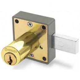 Cerradura para mueble cromo modelo 25, accion horizontal, Cilindro 36mm 2 llaves, CM-25L 43567 Hermex