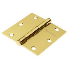 """Bisagra cuadrada de acero dorado 4"""" Cabeza plana Tipo capuchina Espesor 1.4mm Incluye pernos, BC-401PP 23686 Hermex"""