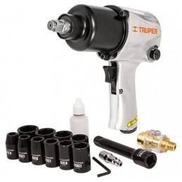 "Llave Neumatica Pistola de Impacto 1/2"" Industrial, Kit con Estuche Plastico carcasa en Aluminio, TPN-734H-2K 18281 Truper"