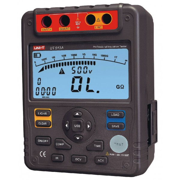 Megometro Digital UNI-T UT-513A, Insulation Resistance 5000v DC 600V AC 600V Auto Rango