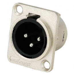 Conector Plug Roxtone RX3MD-NT, Canon XLR 3 Pines Chasis Metal