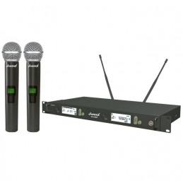 Microfono Inalambrico Vozzex VZ-U999, 60m UHF Doble Canal Doble Microfono de Mano