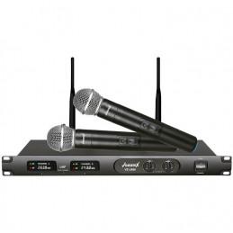 Microfono Inalambrico Vozzex VZ-U660, 60m UHF Doble Canal Doble Microfono de Mano