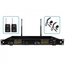 Microfono Inalambrico Vozzex VZ-9006-S, 60m UHF Premium Doble Canal Doble Microfono Tipo Solapero