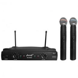 Microfono Inalambrico Vozzex VZ-2023, 60m VHF Doble Canal Doble Microfono de Mano
