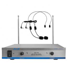 Microfono Inalambrico Vozzex VZ-11V, VHF Doble Canal Doble Microfono Tipo Vincha