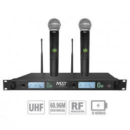 Microfono Inalambrico MXT MXT-U999, 60m UHF Doble Canal Doble Microfono de Mano