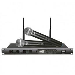 Microfono Inalambrico MXT MXT-U660, 60m UHF Doble Canal Doble Microfono de Mano